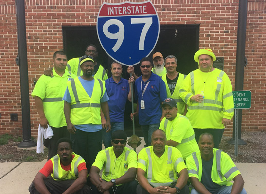 A local resident wrote, thank you, Supervisor Ron of State Highway @ Glen Burnie, for making sure that potholes were repaired. Pictured, left to right: Back row: Rodney Lewis, Salvador Campos, Mike Johnson, Steve Hall, Ron Witherspoon, Roger Merson, Juan Rodriguez, and James Anthony. Bottom row: Ron Fisher, Donald Berry, Lionel Green, Brandon Smith, and Gerald Mahony.