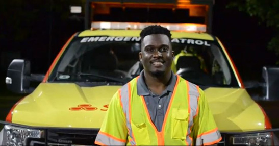 CHART Field Supervisor Sean Frederick supports his field technicians every night, staying vigilant for dangerous drivers every time he steps out of his car.