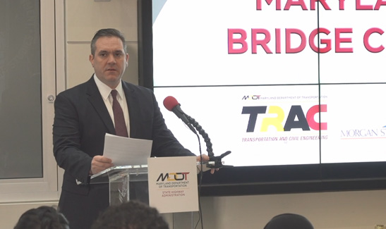 OPPE Director Scott Pomento encouraged students to consider future transportation engineers at the TRAC 2020 Challenge.