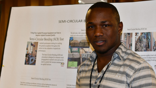 During June's Operations Innovation Showcase, Lab Engineer Mohamed Tarawallie of the Asphalt Technology Division explained ATD's research identifying asphalt mixtures that may crack prematurely.