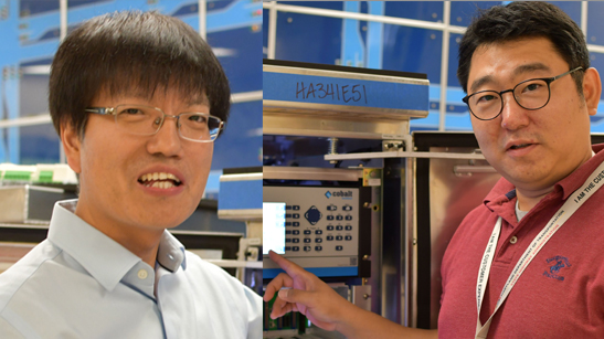 Minseok Kim (left) and Dr. Sung Yoon Park led MDOT SHA efforts to stop rear-end and pedestrian collisions in intersections.