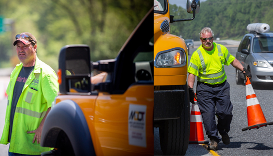 In May, Maintenance Team Leaders Tony Battaglia and Chris Mitchell closed a lane of traffic on I-70 near the Security Boulevard Park and Ride.