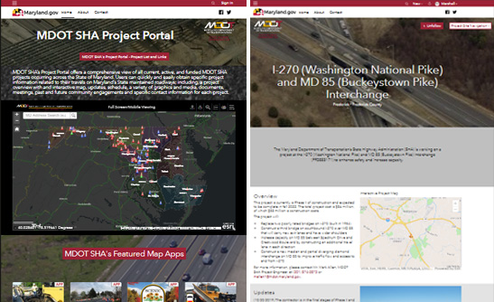 By mid-December, MDOT SHA's new website will include a completely revised Project Portal.
