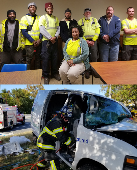 Quick thinking Golden Ring Shop team members came to the assistance of a driver trapped in a burning van before local emergency services arrived. Pictured at top are (left to right) Carroll Williams, Troy Dixon, Don Carter Jr., Marco Scurti, Rick DeMarr, Wayne Smith, and Nikos Routzounis. Seated: Christine Gilmore.