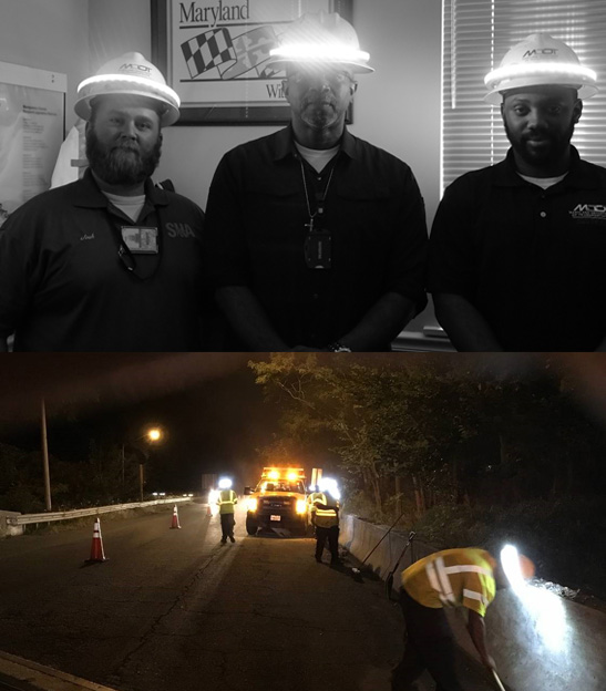 Halo lights work effectively indoors and out, as demonstrated by (left to right) Joshua Stonesifer, Darrin Johnson, and Carey Mowatt, and a nighttime crew.