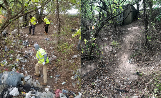 MDOT SHA and partners on Keep Maryland Beautiful visited a dumping ground near US 40 and Moravia Road (left) and cleared it of debris (right).