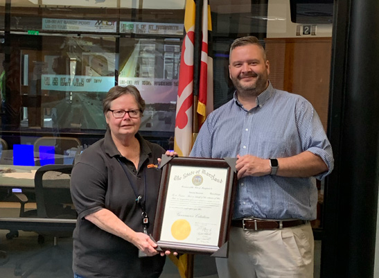 Operations Manager Patty Murawski (left) completed an awesome 48+ years of service at CHART & ITS Development this month. CHART Director Joey Sagal recognized her nearly half century with MDOT SHA.