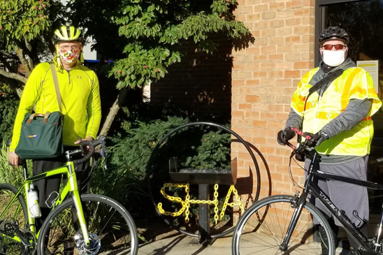 Serious Mileage: OPC's Dale Edwards cycled an impressive 630 miles during Virtual Bike Week last month. Scott Yinger (left) and Joey Sagal used their bicycles to commute from their homes to the Westminster Shop.