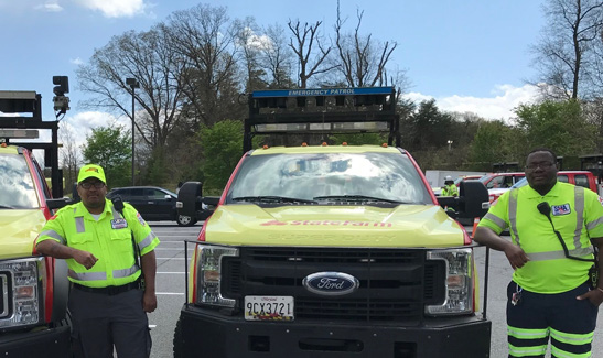 CHART drivers Terrell Young, Jr. (Baltimore Region, left) and Willie Little (Autobase) responded to a distress call in just 15 minutes.