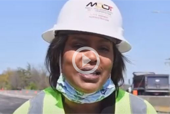 On April 22, the Office of Communication's new media manager, Sherry Christian, celebrated Go Orange Day during National Work Zone Safety Week by recording this spot at the I-83 bridge over Padonia Road in Towson. Sherry joins MDOT SHA after anchoring for Harrisburg's WHP-TV and Baltimore's WMAR-TV.