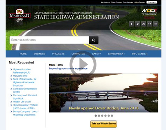 Modernization - Enhancing the User Experience: MDOT SHA Revamps Statewide Web Site